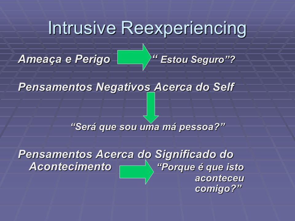 Intrusive Reexperiencing Ameaça e Perigo Estou Seguro? Pensamentos Negativos Acerca do Self Será que sou uma má pessoa? Pensamentos Acerca do Signific