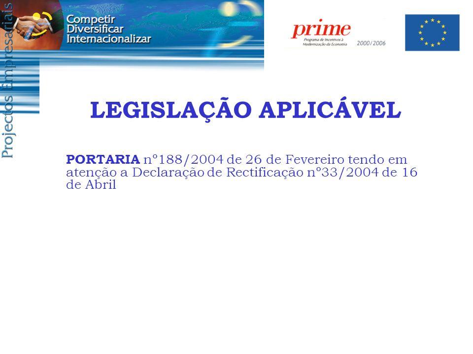 LEGISLAÇÃO APLICÁVEL PORTARIA nº188/2004 de 26 de Fevereiro tendo em atenção a Declaração de Rectificação nº33/2004 de 16 de Abril