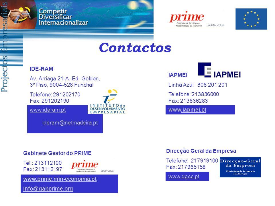 Contactos IAPMEI Linha Azul 808 201 201 Telefone: 213836000 Fax: 213836283 Direcção Geral da Empresa Telefone: 217919100 Fax: 217965158 Gabinete Gesto
