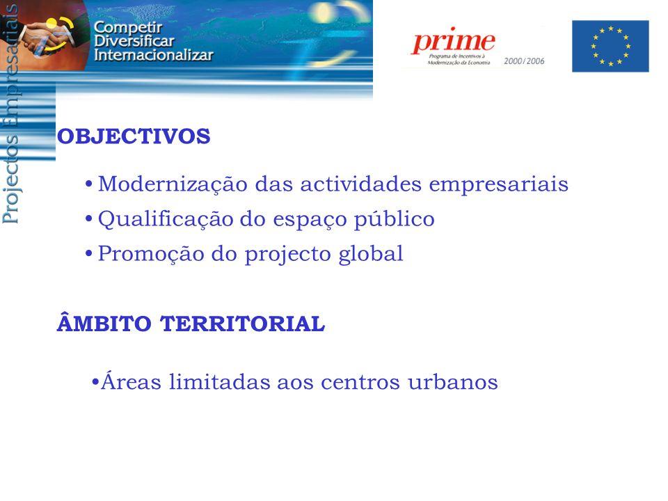 ÂMBITO TERRITORIAL Áreas limitadas aos centros urbanos Modernização das actividades empresariais Qualificação do espaço público Promoção do projecto g