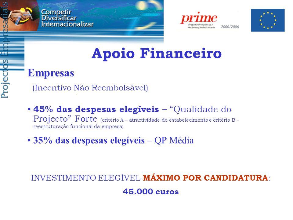 45% das despesas elegíveis – Qualidade do Projecto Forte (critério A – atractividade do estabelecimento e critério B – reestruturação funcional da emp