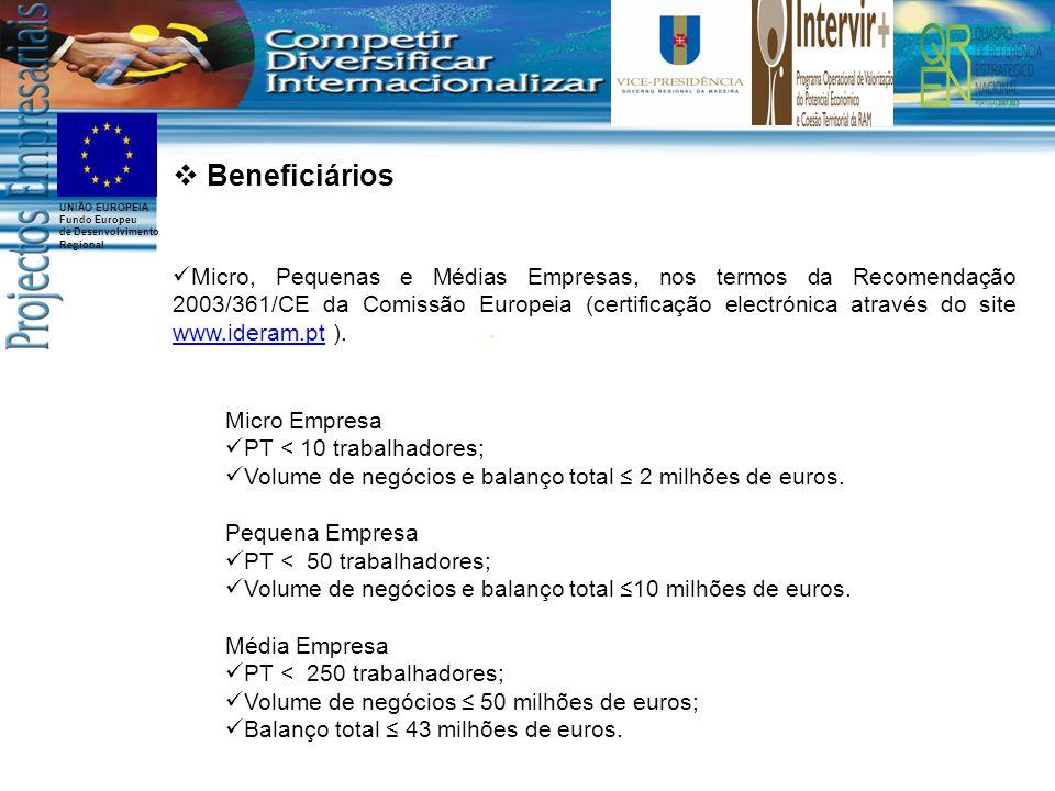 UNIÃO EUROPEIA Fundo Europeu de Desenvolvimento Regional Beneficiários Micro, Pequenas e Médias Empresas, nos termos da Recomendação 2003/361/CE da Comissão Europeia (certificação electrónica através do site www.ideram.pt ).