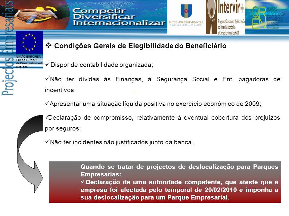 UNIÃO EUROPEIA Fundo Europeu de Desenvolvimento Regional Condições Gerais de Elegibilidade do Beneficiário Dispor de contabilidade organizada; Não ter dívidas às Finanças, à Segurança Social e Ent.
