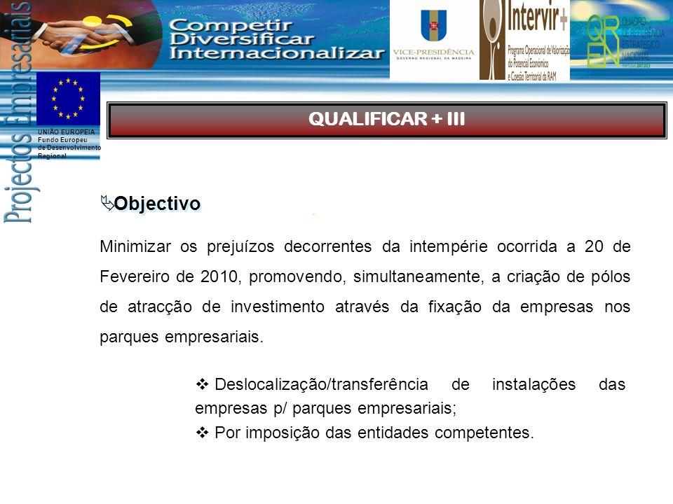 UNIÃO EUROPEIA Fundo Europeu de Desenvolvimento Regional Minimizar os prejuízos decorrentes da intempérie ocorrida a 20 de Fevereiro de 2010, promovendo, simultaneamente, a criação de pólos de atracção de investimento através da fixação da empresas nos parques empresariais.