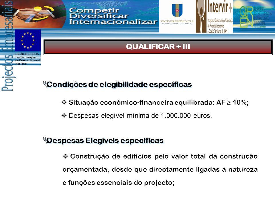 UNIÃO EUROPEIA Fundo Europeu de Desenvolvimento Regional Condições de elegibilidade específicas Situação económico-financeira equilibrada: AF 10%; Despesas elegível mínima de 1.000.000 euros.