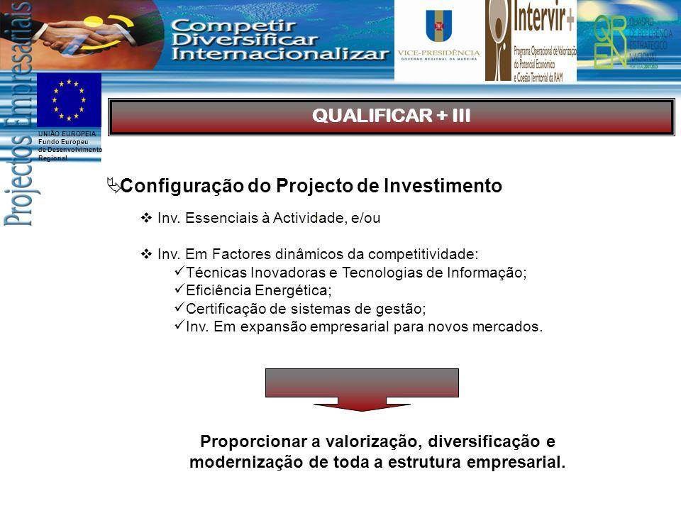 UNIÃO EUROPEIA Fundo Europeu de Desenvolvimento Regional Configuração do Projecto de Investimento Inv.