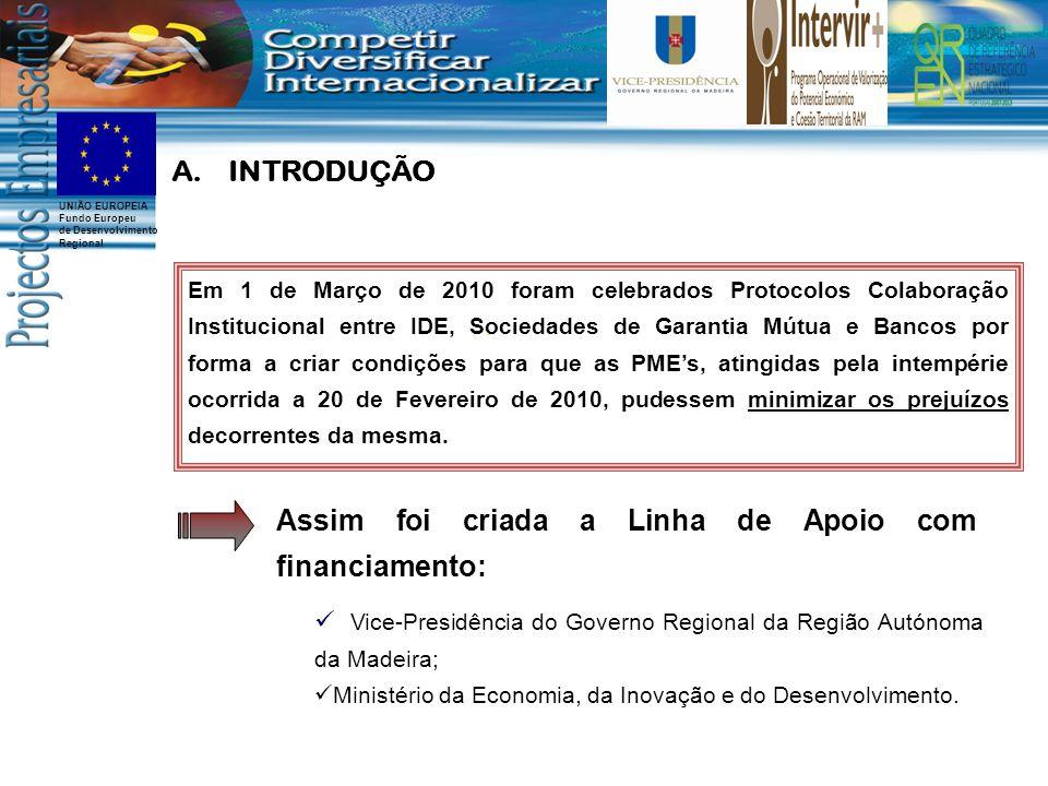 UNIÃO EUROPEIA Fundo Europeu de Desenvolvimento Regional Em 1 de Março de 2010 foram celebrados Protocolos Colaboração Institucional entre IDE, Sociedades de Garantia Mútua e Bancos por forma a criar condições para que as PMEs, atingidas pela intempérie ocorrida a 20 de Fevereiro de 2010, pudessem minimizar os prejuízos decorrentes da mesma.