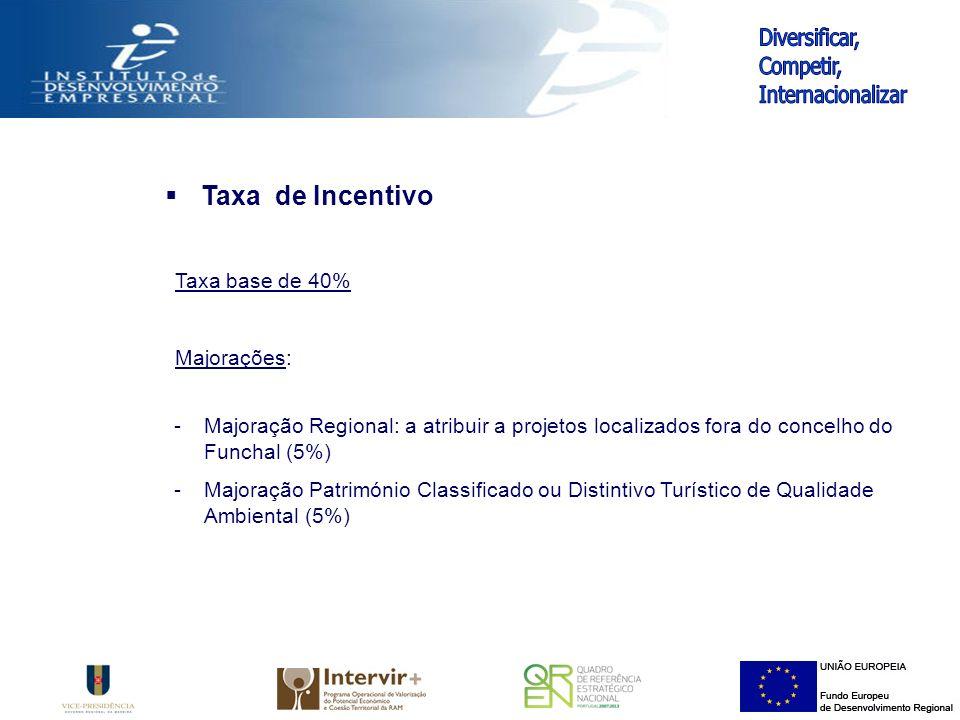Taxa de Incentivo Taxa base de 40% Majorações: -Majoração Regional: a atribuir a projetos localizados fora do concelho do Funchal (5%) -Majoração Património Classificado ou Distintivo Turístico de Qualidade Ambiental (5%)