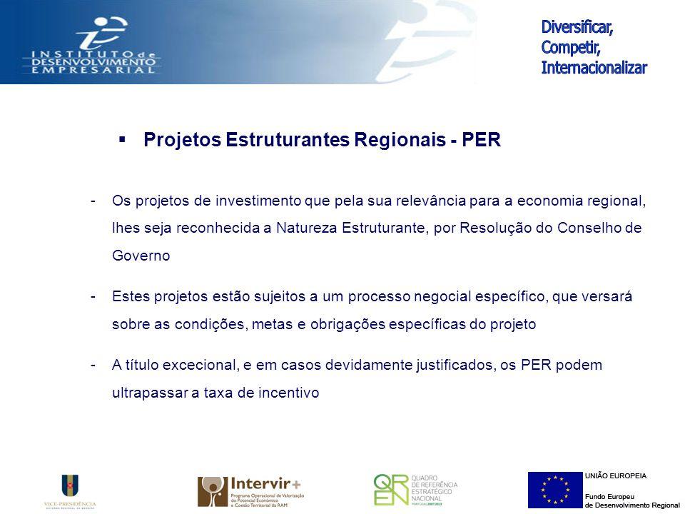 Projetos Estruturantes Regionais - PER -Os projetos de investimento que pela sua relevância para a economia regional, lhes seja reconhecida a Natureza Estruturante, por Resolução do Conselho de Governo -Estes projetos estão sujeitos a um processo negocial específico, que versará sobre as condições, metas e obrigações específicas do projeto -A título excecional, e em casos devidamente justificados, os PER podem ultrapassar a taxa de incentivo