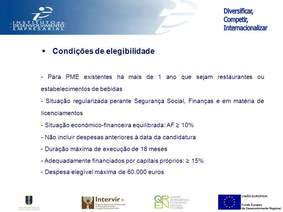 Condições de elegibilidade - Para PME existentes há mais de 1 ano que sejam restaurantes ou estabelecimentos de bebidas - Situação regularizada perante Segurança Social, Finanças e em matéria de licenciamentos - Situação económico-financeira equilibrada: AF 10% - Não incluir despesas anteriores à data da candidatura - Duração máxima de execução de 18 meses - Adequadamente financiados por capitais próprios: 15% - Despesa elegível máxima de 60.000 euros