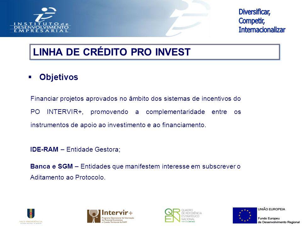 Objetivos Financiar projetos aprovados no âmbito dos sistemas de incentivos do PO INTERVIR+, promovendo a complementaridade entre os instrumentos de apoio ao investimento e ao financiamento.