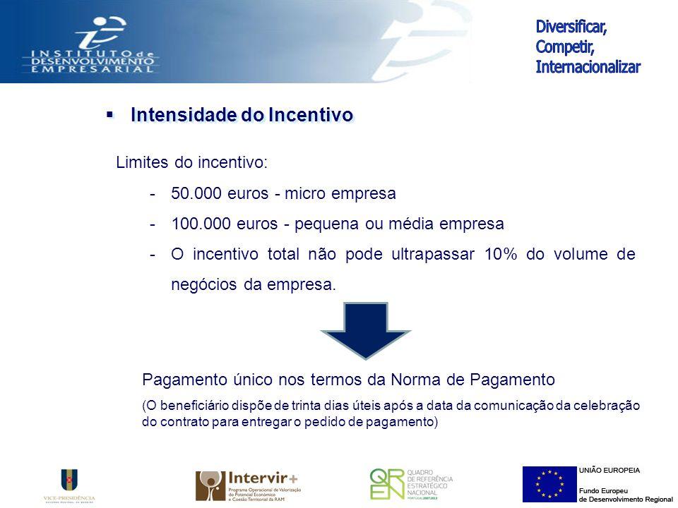 Intensidade do Incentivo Limites do incentivo: -50.000 euros - micro empresa -100.000 euros - pequena ou média empresa -O incentivo total não pode ultrapassar 10% do volume de negócios da empresa.