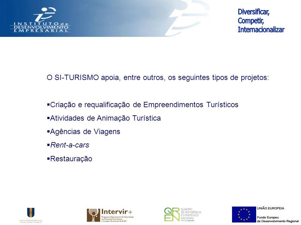 O SI-TURISMO apoia, entre outros, os seguintes tipos de projetos: Criação e requalificação de Empreendimentos Turísticos Atividades de Animação Turística Agências de Viagens Rent-a-cars Restauração