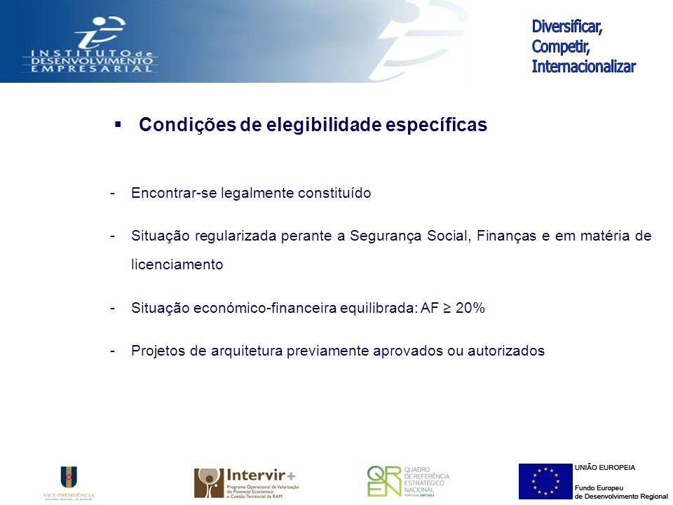 Condições de elegibilidade específicas -Encontrar-se legalmente constituído -Situação regularizada perante a Segurança Social, Finanças e em matéria de licenciamento -Situação económico-financeira equilibrada: AF 20% -Projetos de arquitetura previamente aprovados ou autorizados