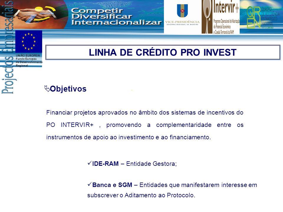 UNIÃO EUROPEIA Fundo Europeu de Desenvolvimento Regional Objetivos Financiar projetos aprovados no âmbito dos sistemas de incentivos do PO INTERVIR+,