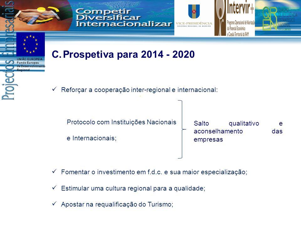 UNIÃO EUROPEIA Fundo Europeu de Desenvolvimento Regional C.Prospetiva para 2014 - 2020 Reforçar a cooperação inter-regional e internacional: Protocolo