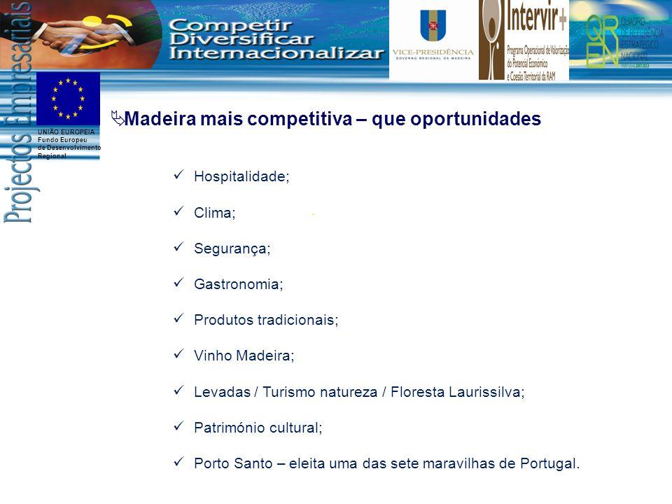 UNIÃO EUROPEIA Fundo Europeu de Desenvolvimento Regional Hospitalidade; Clima; Segurança; Gastronomia; Produtos tradicionais; Vinho Madeira; Levadas /