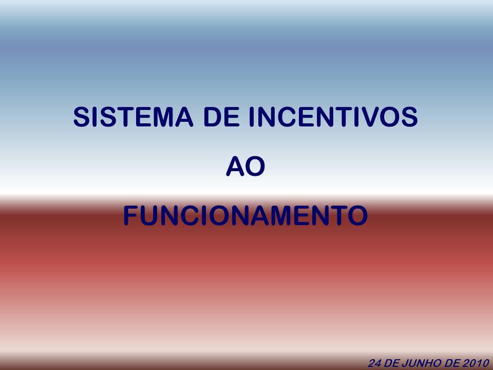SISTEMA DE INCENTIVOS AO FUNCIONAMENTO 24 DE JUNHO DE 2010