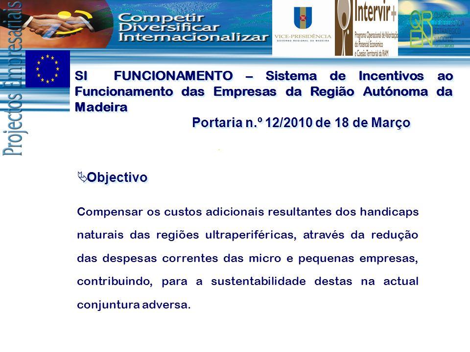 SI FUNCIONAMENTO – Sistema de Incentivos ao Funcionamento das Empresas da Região Autónoma da Madeira Portaria n.º 12/2010 de 18 de Março SI FUNCIONAME