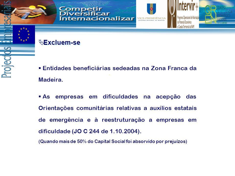 Excluem-se Entidades beneficiárias sedeadas na Zona Franca da Madeira. As empresas em dificuldades na acepção das Orientações comunitárias relativas a