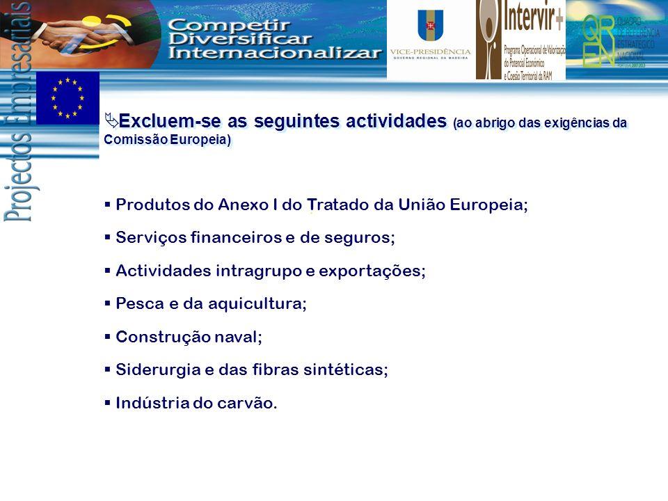 Excluem-se as seguintes actividades (ao abrigo das exigências da Comissão Europeia) Produtos do Anexo I do Tratado da União Europeia; Serviços finance