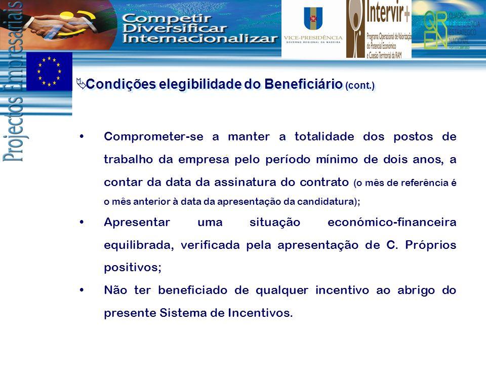 Condições elegibilidade do Beneficiário (cont.) Comprometer-se a manter a totalidade dos postos de trabalho da empresa pelo período mínimo de dois ano