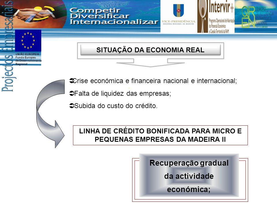 UNIÃO EUROPEIA Fundo Europeu de Desenvolvimento Regional Crise económica e financeira nacional e internacional; Falta de liquidez das empresas; Subida do custo do crédito.