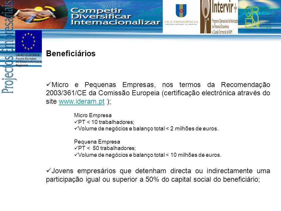 UNIÃO EUROPEIA Fundo Europeu de Desenvolvimento Regional Beneficiários Micro e Pequenas Empresas, nos termos da Recomendação 2003/361/CE da Comissão Europeia (certificação electrónica através do site www.ideram.pt );www.ideram.pt Micro Empresa PT < 10 trabalhadores; Volume de negócios e balanço total < 2 milhões de euros.