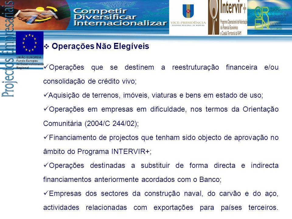 UNIÃO EUROPEIA Fundo Europeu de Desenvolvimento Regional Operações Não Elegíveis Operações que se destinem a reestruturação financeira e/ou consolidaç
