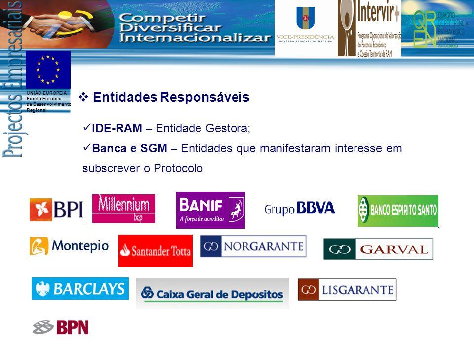 UNIÃO EUROPEIA Fundo Europeu de Desenvolvimento Regional Entidades Responsáveis IDE-RAM – Entidade Gestora; Banca e SGM – Entidades que manifestaram i