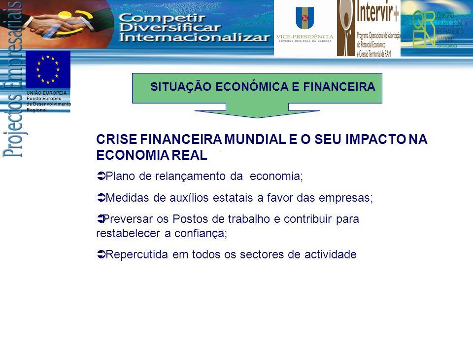 UNIÃO EUROPEIA Fundo Europeu de Desenvolvimento Regional CRISE FINANCEIRA MUNDIAL E O SEU IMPACTO NA ECONOMIA REAL Através de concessões de garantias de empréstimos subvencionadas durante um período limitado é nossa opinião uma solução bem adequada e bem orientada para facilitar o acesso ao financiamento das empresas Subida do custo do crédito Falta de liquidez das empresas INSTRUMENTOS DE APOIO AO FINANCIAMENTO SITUAÇÃO ECONÓMICA E FINANCEIRA