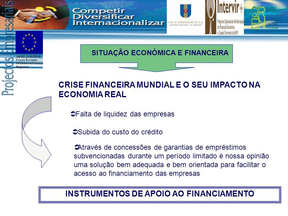 UNIÃO EUROPEIA Fundo Europeu de Desenvolvimento Regional CRISE FINANCEIRA MUNDIAL E O SEU IMPACTO NA ECONOMIA REAL Através de concessões de garantias
