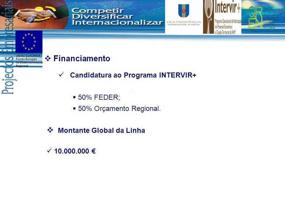 UNIÃO EUROPEIA Fundo Europeu de Desenvolvimento Regional Financiamento Candidatura ao Programa INTERVIR+ 50% FEDER; 50% Orçamento Regional. Montante G