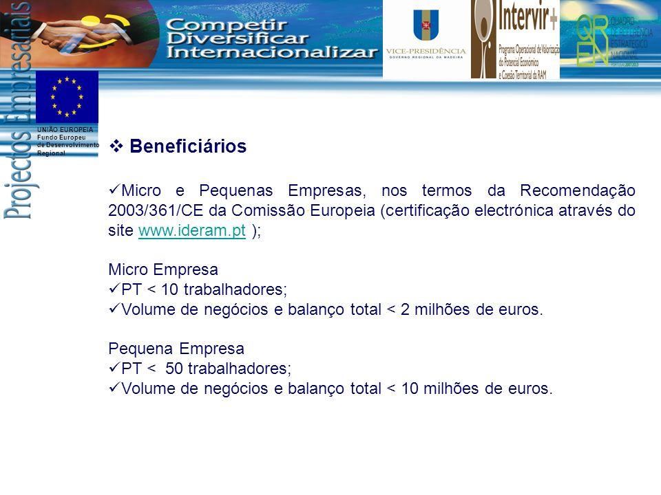 UNIÃO EUROPEIA Fundo Europeu de Desenvolvimento Regional Beneficiários Micro e Pequenas Empresas, nos termos da Recomendação 2003/361/CE da Comissão E