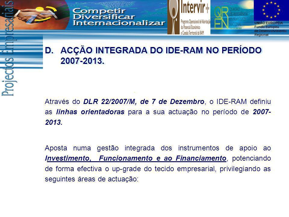 UNIÃO EUROPEIA Fundo Europeu de Desenvolvimento Regional Através do DLR 22/2007/M, de 7 de Dezembro, o IDE-RAM definiu as linhas orientadoras para a s