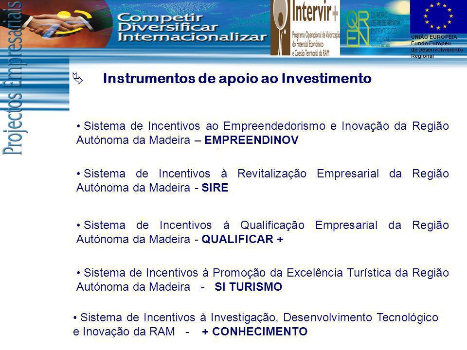UNIÃO EUROPEIA Fundo Europeu de Desenvolvimento Regional Instrumentos de apoio ao Investimento Sistema de Incentivos à Investigação, Desenvolvimento T