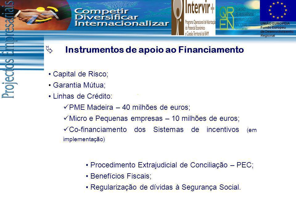UNIÃO EUROPEIA Fundo Europeu de Desenvolvimento Regional Instrumentos de apoio ao Financiamento Capital de Risco; Garantia Mútua; Linhas de Crédito: P