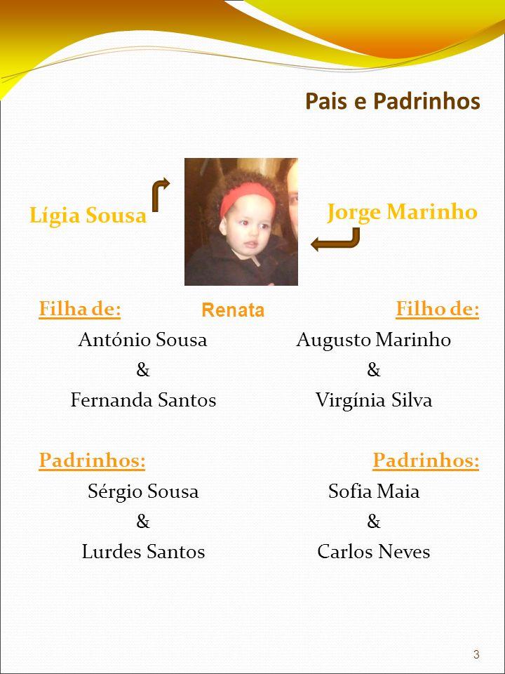 Pais e Padrinhos Lígia Sousa Jorge Marinho Filha de: António Sousa & Fernanda Santos Padrinhos: Sérgio Sousa & Lurdes Santos Filho de: Augusto Marinho
