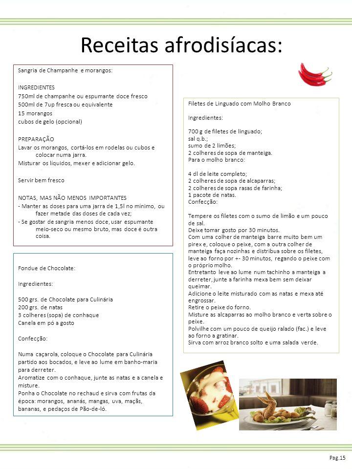 Receitas afrodisíacas: Sangria de Champanhe e morangos: INGREDIENTES 750ml de champanhe ou espumante doce fresco 500ml de 7up fresca ou equivalente 15