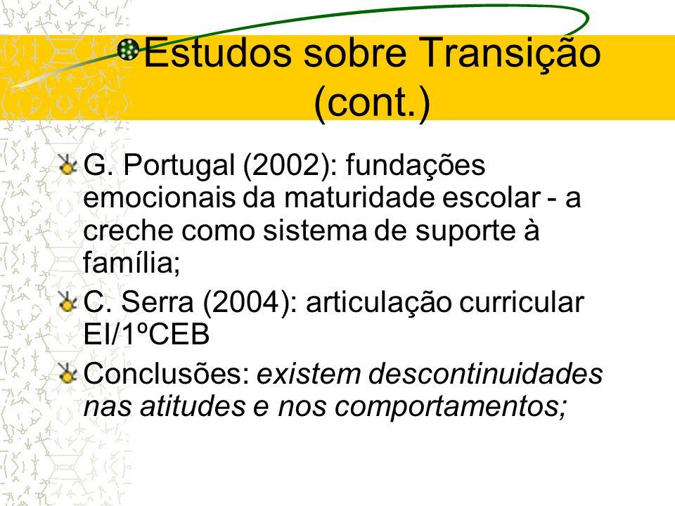 Estudos sobre Transição (cont.) G. Portugal (2002): fundações emocionais da maturidade escolar - a creche como sistema de suporte à família; C. Serra