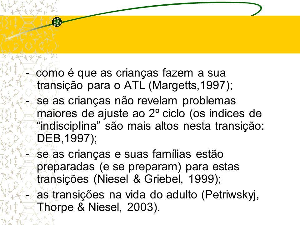 - como é que as crianças fazem a sua transição para o ATL (Margetts,1997); -se as crianças não revelam problemas maiores de ajuste ao 2º ciclo (os índ