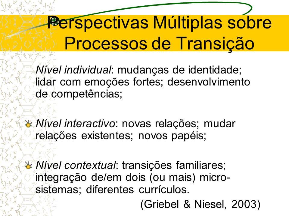 Perspectivas Múltiplas sobre Processos de Transição Nível individual: mudanças de identidade; lidar com emoções fortes; desenvolvimento de competência