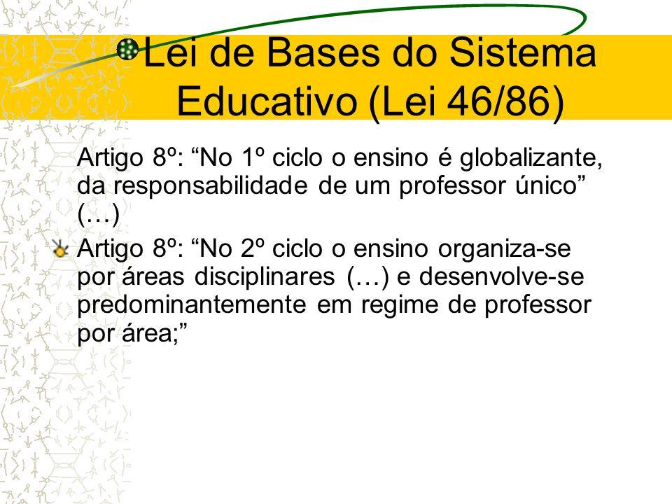 Lei de Bases do Sistema Educativo (Lei 46/86) Artigo 8º: No 1º ciclo o ensino é globalizante, da responsabilidade de um professor único (…) Artigo 8º: