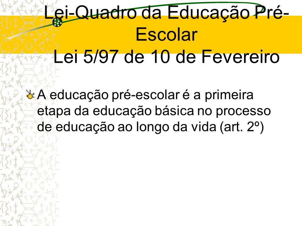 Lei-Quadro da Educação Pré- Escolar Lei 5/97 de 10 de Fevereiro A educação pré-escolar é a primeira etapa da educação básica no processo de educação a