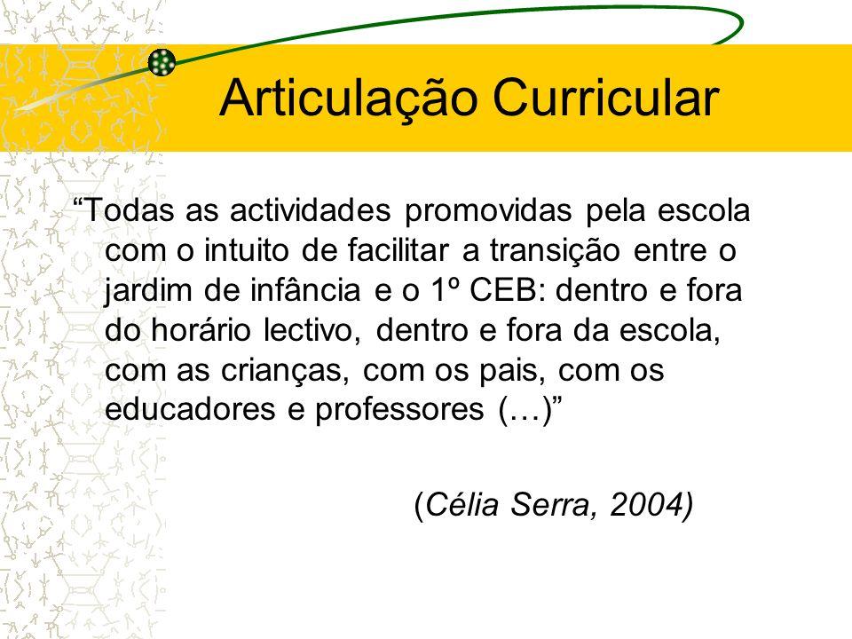 Articulação Curricular Todas as actividades promovidas pela escola com o intuito de facilitar a transição entre o jardim de infância e o 1º CEB: dentr