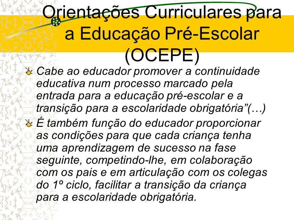 Orientações Curriculares para a Educação Pré-Escolar (OCEPE) Cabe ao educador promover a continuidade educativa num processo marcado pela entrada para