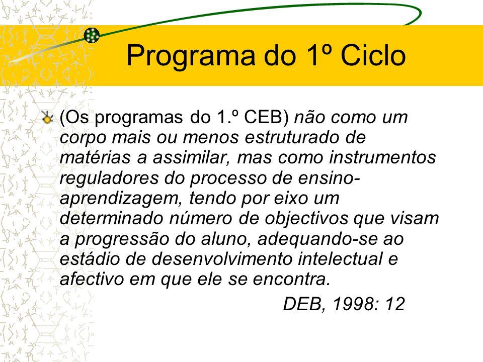 Programa do 1º Ciclo (Os programas do 1.º CEB) não como um corpo mais ou menos estruturado de matérias a assimilar, mas como instrumentos reguladores
