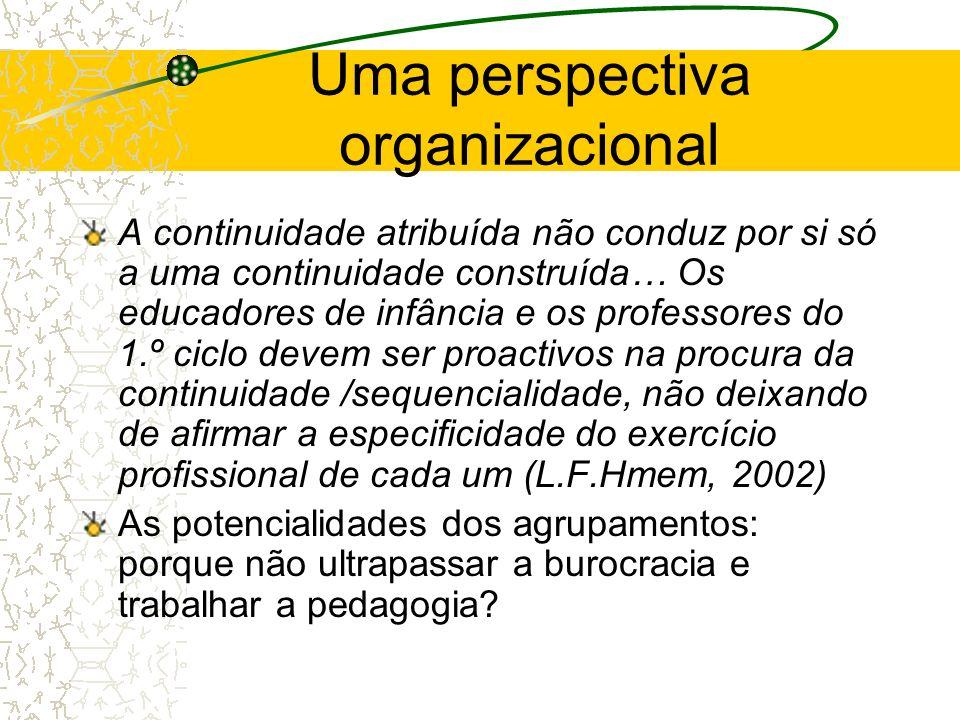 Uma perspectiva organizacional A continuidade atribuída não conduz por si só a uma continuidade construída… Os educadores de infância e os professores
