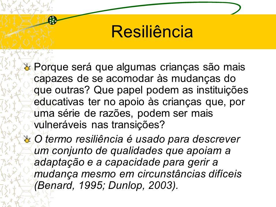 Resiliência Porque será que algumas crianças são mais capazes de se acomodar às mudanças do que outras? Que papel podem as instituições educativas ter