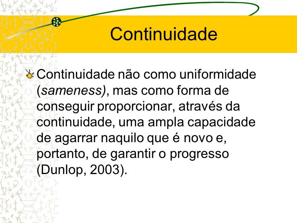 Continuidade Continuidade não como uniformidade (sameness), mas como forma de conseguir proporcionar, através da continuidade, uma ampla capacidade de